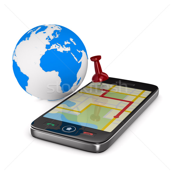 Navigation in phone. Isolated 3D image Stock photo © ISerg