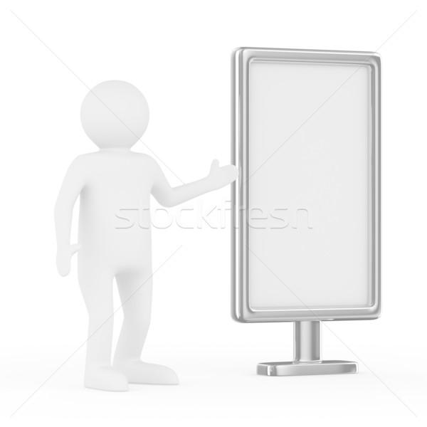 man and billboard on white background. Isolated 3D image Stock photo © ISerg