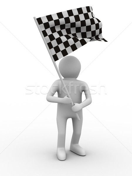 man with flag on white background. Isolated 3D image Stock photo © ISerg