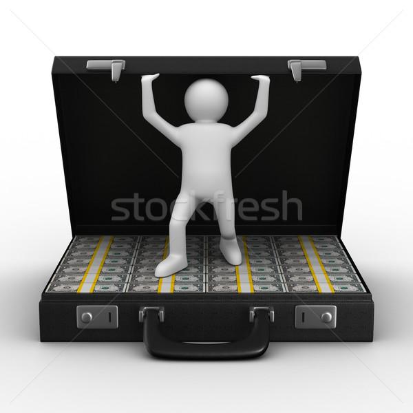 Open suitcase with dollars on white background. Isolated 3D image Stock photo © ISerg