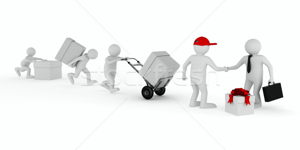 Goods delivery on white background. Isolated 3D image Stock photo © ISerg