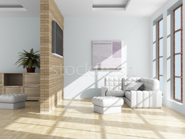 Stock photo: Interior of a living room. 3D image.