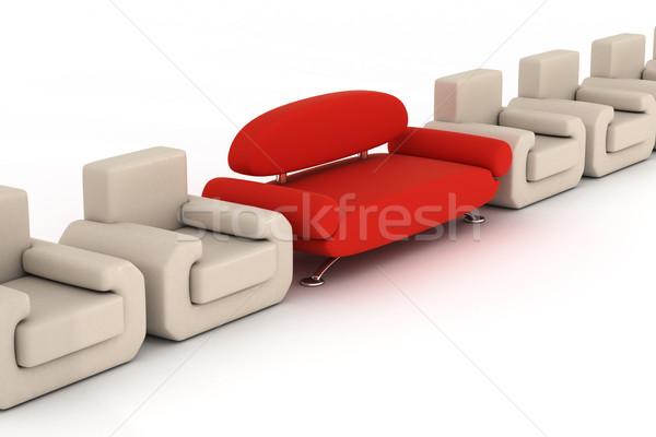 Сток-фото: красный · диван · белый · 3D · изображение