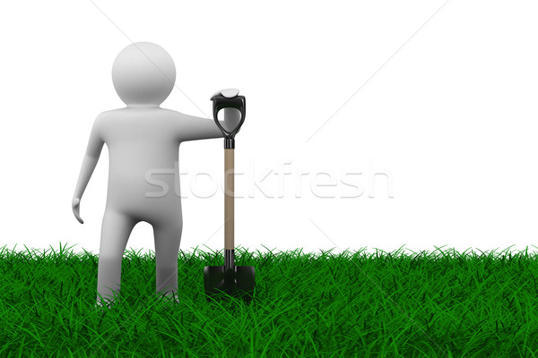 Man with shovel on grass. Isolated 3D image Stock photo © ISerg