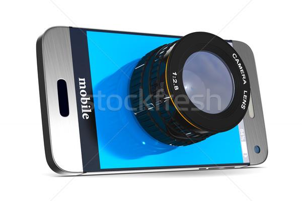 phone with lens on white background. Isolated 3D image Stock photo © ISerg