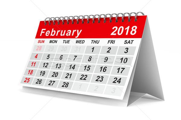 2018 year calendar. February. Isolated 3D illustration Stock photo © ISerg