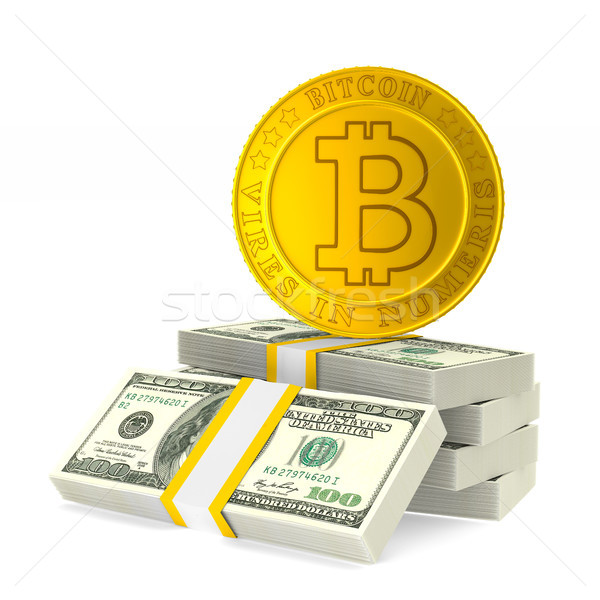 Pièce bitcoin blanche isolé 3d illustration web Photo stock © ISerg