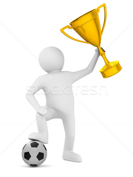 Stockfoto: Voetballer · bal · trofee · beker · geïsoleerd · 3d · illustration