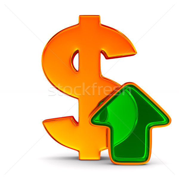 Stock photo: dollar sign and green arrow on white background. Isolated 3D ill