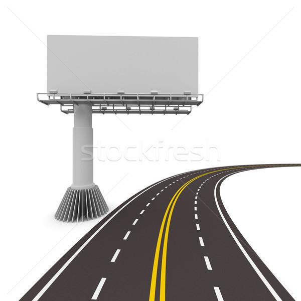 Stockfoto: Weg · billboard · geïsoleerd · 3D · afbeelding · auto