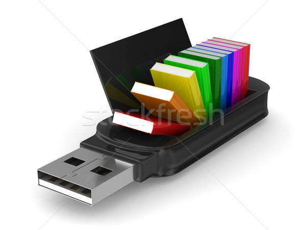 Usb flash drive książek biały odizolowany 3D Zdjęcia stock © ISerg