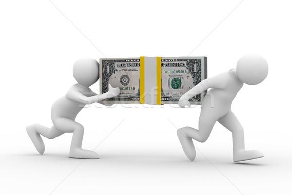 Iki adam dolar yalıtılmış 3D görüntü Stok fotoğraf © ISerg