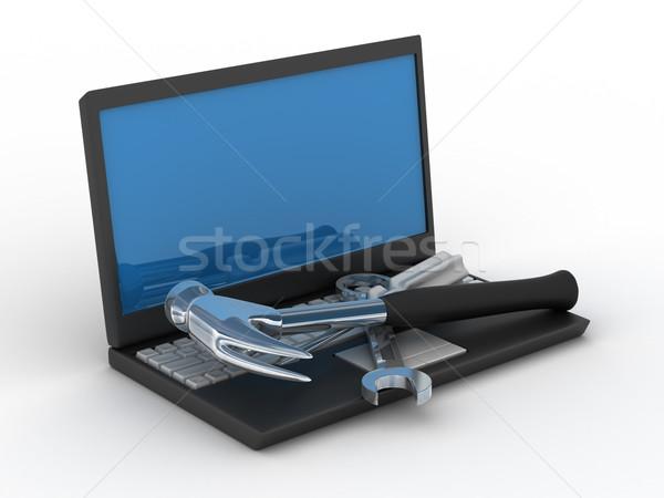 Ordinateur techniques Ouvrir la isolé 3D image Photo stock © ISerg