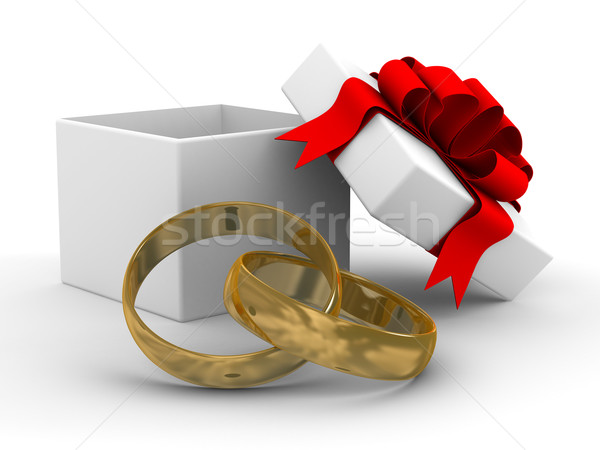 Stock photo: White gift box with rings. 3D image on white background.