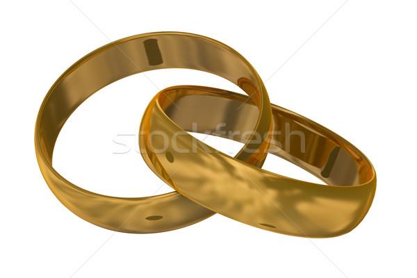 Kettő arany jegygyűrűk 3D kép szeretet Stock fotó © ISerg