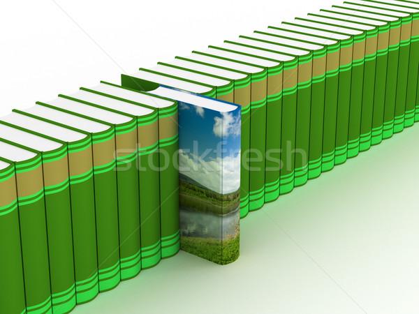 Fila libri bianco 3D immagine ufficio Foto d'archivio © ISerg
