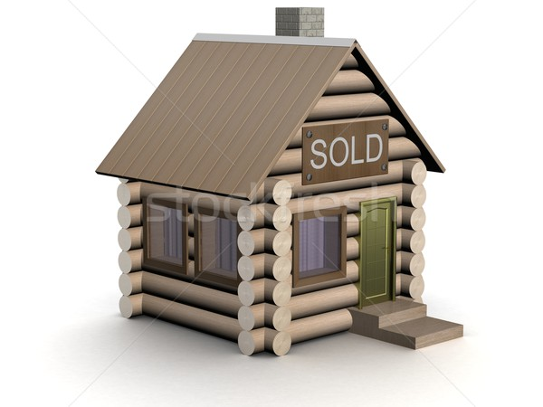 Wooden small house. The isolated illustration. 3D image. Stock photo © ISerg