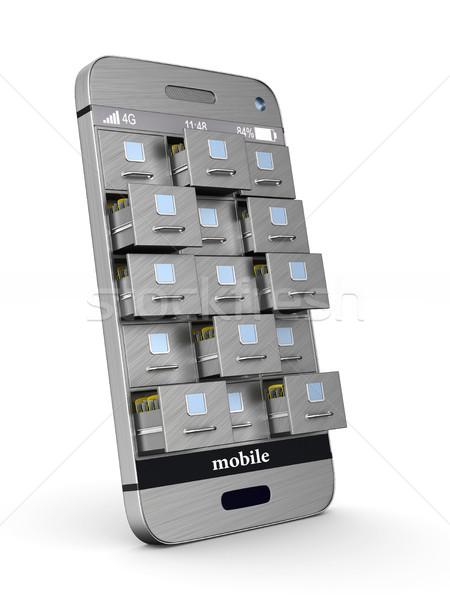 Telefon faliszekrény fehér izolált 3D 3d illusztráció Stock fotó © ISerg