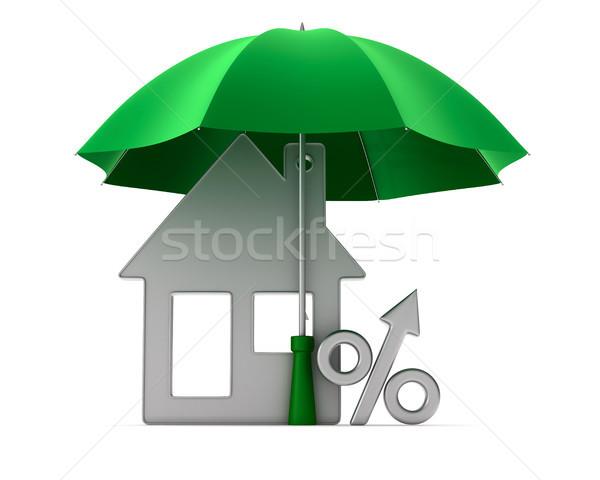 Metallic trinket house and percent under umbrella on white backg Stock photo © ISerg