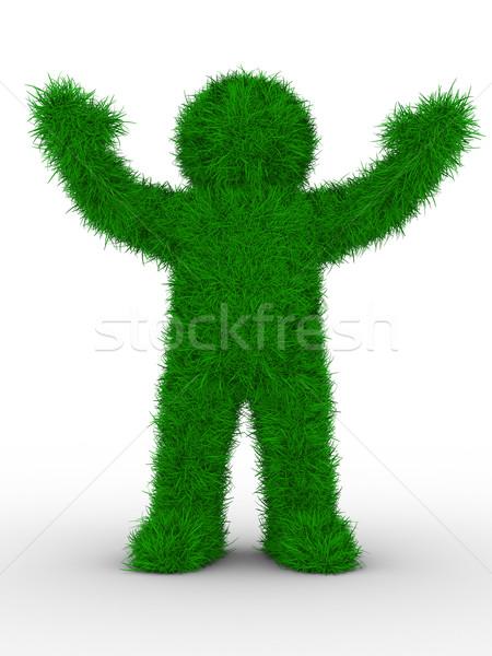 Сток-фото: человека · трава · белый · изолированный · 3D · изображение
