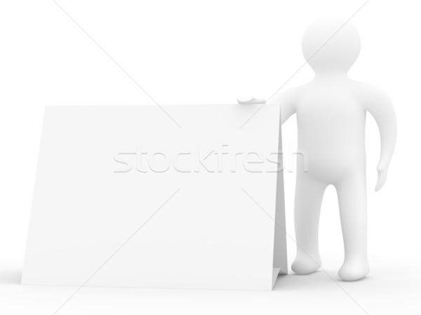 Homme affiche main 3D image affaires Photo stock © ISerg
