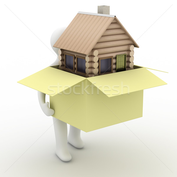 house in a gift. 3D image. isolated illustrations Stock photo © ISerg