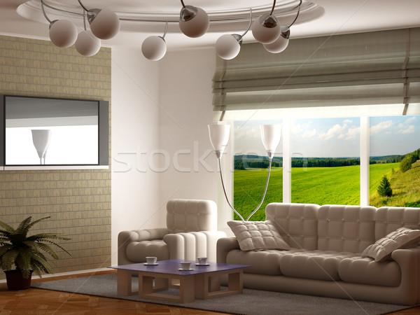 Zdjęcia stock: Wnętrza · salon · 3D · obraz · krajobraz · projektu