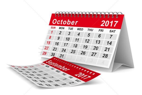 2017 year calendar. October. Isolated 3D image Stock photo © ISerg