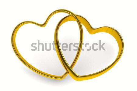 ストックフォト: 結婚指輪 · 白 · 孤立した · 3D · 画像 · 結婚式