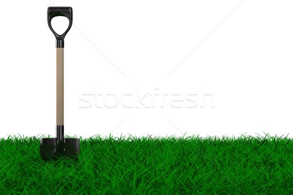 Shovel on grass. garden tool. Isolated 3D image Stock photo © ISerg