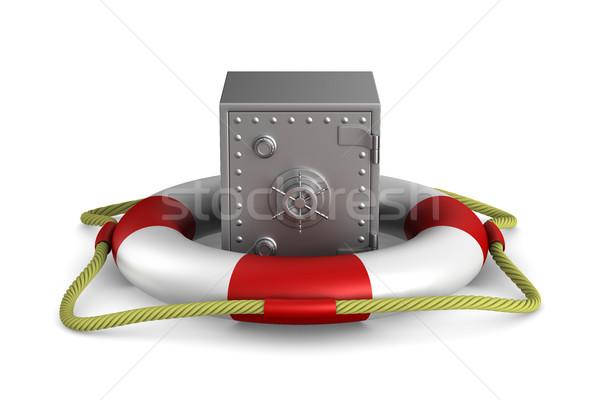 lifebuoy and safe on white background. Isolated 3D image Stock photo © ISerg