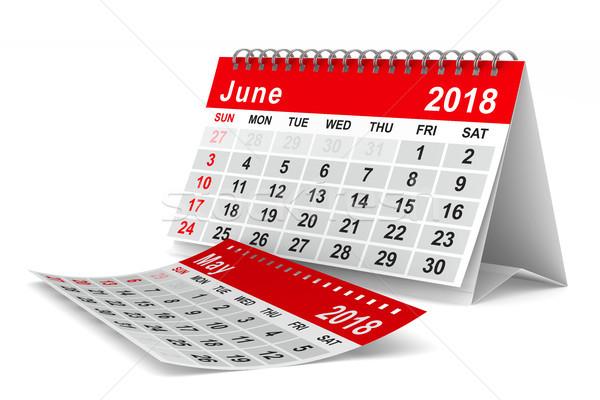 2018 year calendar. June. Isolated 3D illustration Stock photo © ISerg