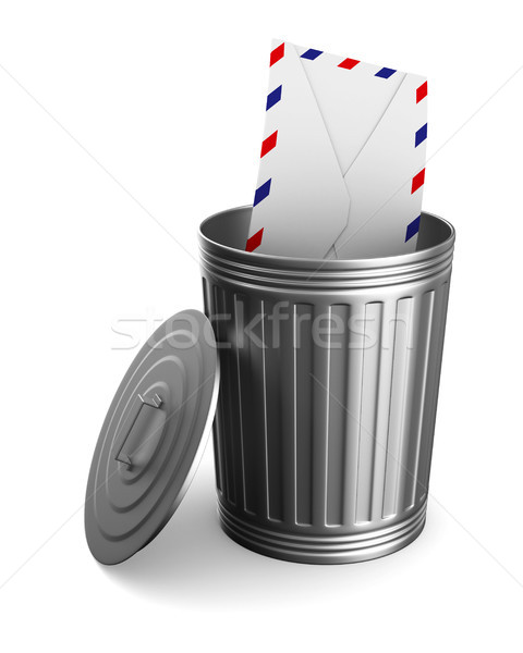 envelope in garbage basket on white background. Isolated 3D illu Stock photo © ISerg