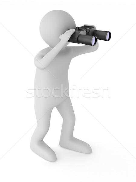 man with binocular on white background. Isolated 3d image Stock photo © ISerg