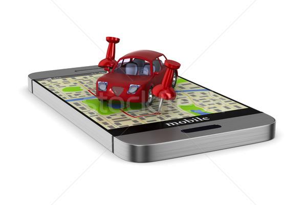 Navigazione telefono isolato illustrazione 3d auto internet Foto d'archivio © ISerg