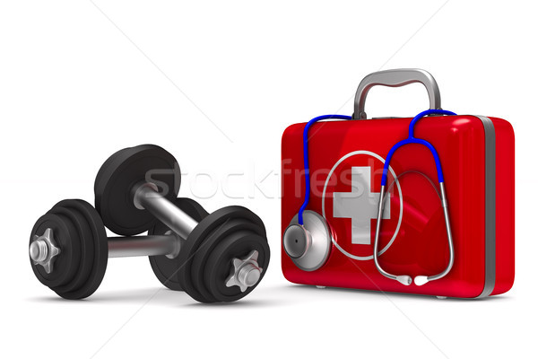First aid kit and dumbbells on white background. Isolated 3D ill Stock photo © ISerg
