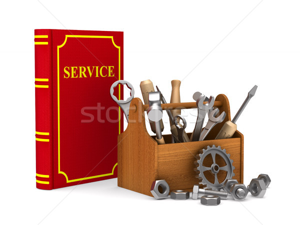 Wooden toolbox with tools and red service book. Isolated 3D illu Stock photo © ISerg