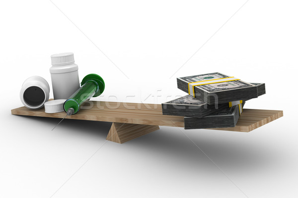 Stock photo: Medicine and money on scales. Isolated 3D image