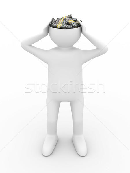 businessman thinks of money. Isolated 3D image Stock photo © ISerg