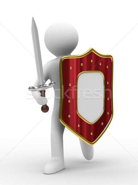 knight with sword on white background. Isolated 3D image Stock photo © ISerg
