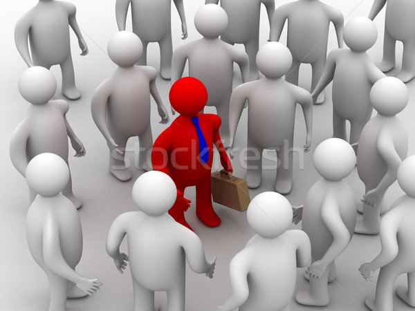 Image travail d'équipe 3D groupe conférence rouge Photo stock © ISerg