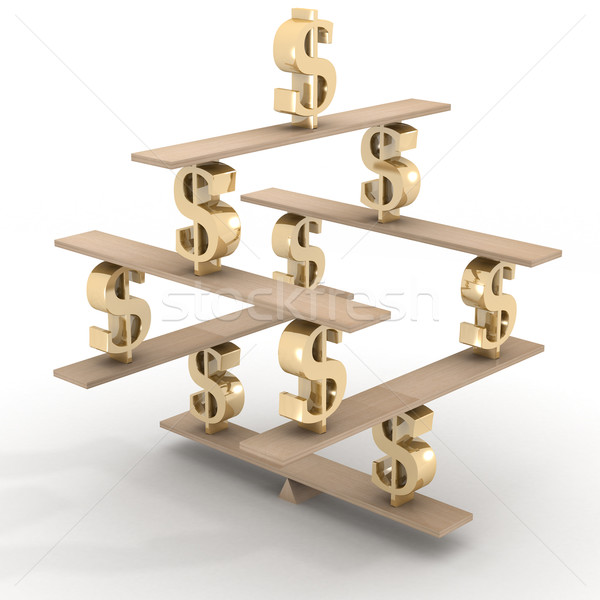Financial balance. Stable equilibrium. 3D image. Stock photo © ISerg