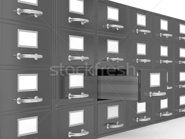 Faliszekrény fehér izolált 3D kép papír Stock fotó © ISerg