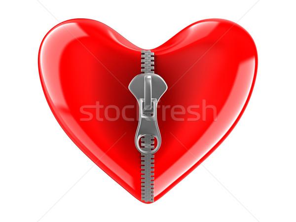 Zipper in heart. Isolated 3D image on white Stock photo © ISerg