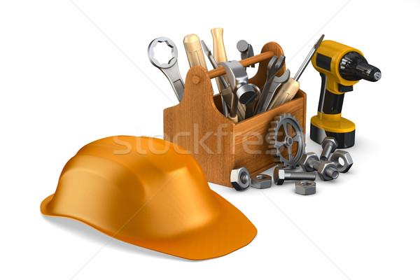 Przybornik narzędzia odizolowany 3D obraz Zdjęcia stock © ISerg