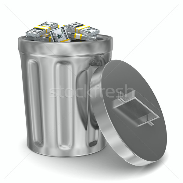 Garbage basket with dollars on white background. Isolated 3D ima Stock photo © ISerg