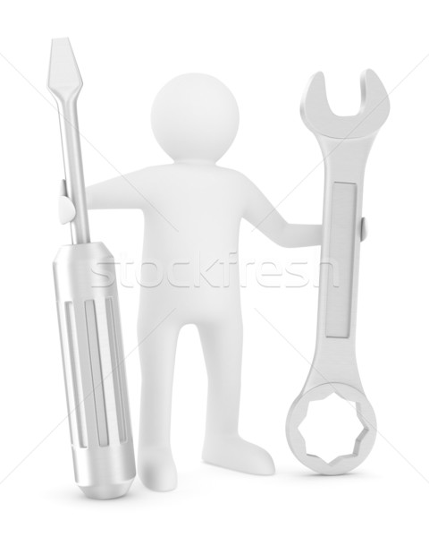 Man with screwdriver and spanner on white background. Isolated 3 Stock photo © ISerg