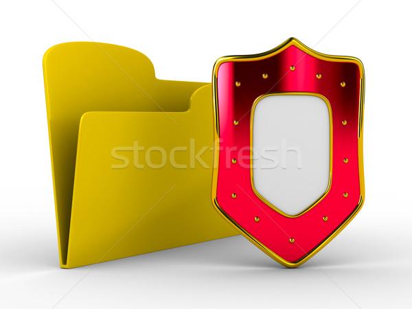 Stok fotoğraf: Sarı · bilgisayar · Klasör · kalkan · yalıtılmış · 3D