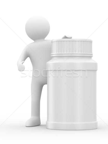 Stok fotoğraf: Adam · şişe · yalıtılmış · 3D · görüntü · tıbbi