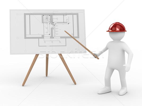 Foto stock: Ingeniero · bordo · plan · aislado · 3D · imagen